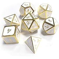 Jannyshop 7pcs / Set Poliédrico Dados Juego de Dados de Metal D&D para Juego TRPG Dungeons and Dragons