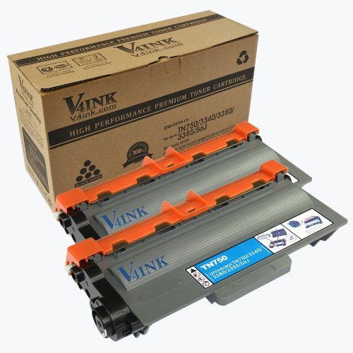 2 Pack V4INK ® New Compatible Brother TN750 Toner Cartridge for Brother HL-5400 Series/HL-6100 Series/DCP-8110 Series Toner Printers, Office Central