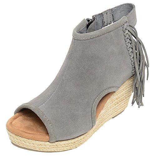 Minnetonka Womens Melrose Blaire Wedge Sandal, Grey Suede, 8 B(M) US