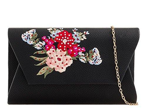 haute fleur en Medium Diva Lilas pochette strass pour Noir broderie r4fExrw