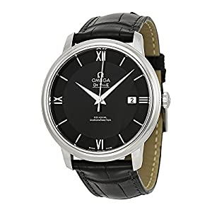 Omega Men's 42413402001001 Stainlesss Steel Watch with Black Leather Band