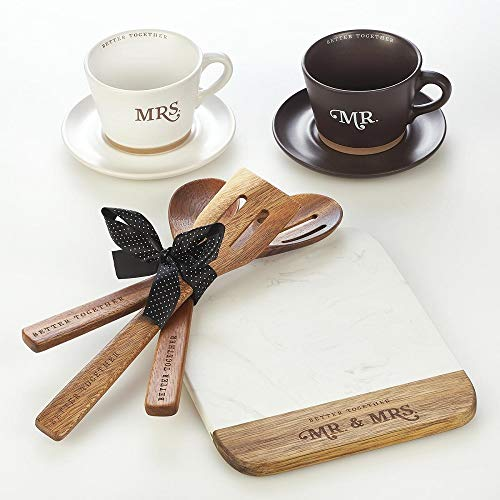 Better Together Mr. & Mrs. 3 Piece Wooden Kitchen Utensil Set Acacia Wood Spoon Set Safe for Nonstick Pots and Pans and Cookware (Standard Spoon, Slotted Spoon, and Slotted Spatula)