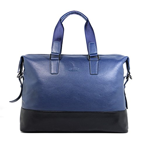 Blue Mens Briefcase Leather Handbag Large Messenger Shoulder Bag Waterproof for Short Business Trip Fits 15 inch Laptop (Navy Blue) by WIKISH