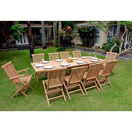 Set de mesa y sillas de jardín madera de teca, 1 mesa ...
