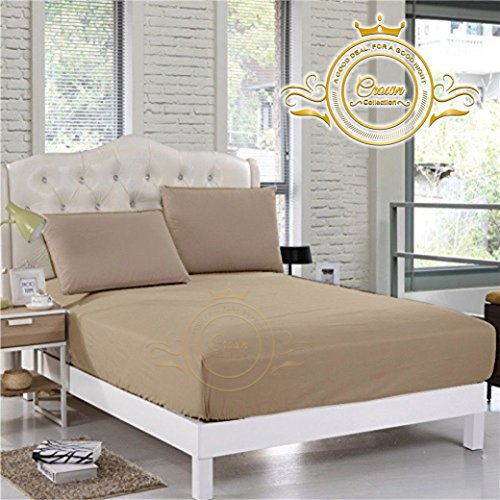 Crown Royal Hotel Collection Bedding's 750 Thread Count Egyptian Cotton Fitted Sheet Expanded/Olympic Queen Size 14'' Inch Deep Pocket Taupe Solid Export Quality