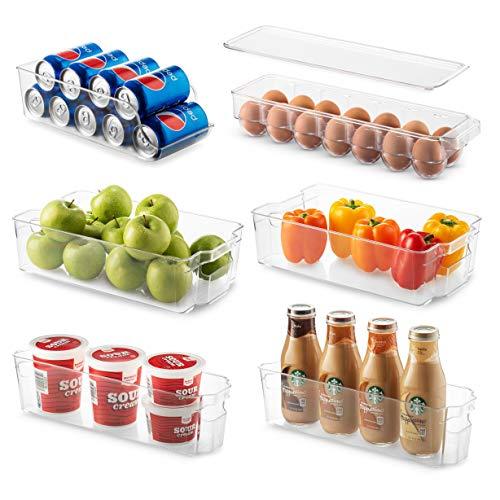 Set Of 6 Refrigerator Organizer Bins – Stackable Fridge Organizers for Freezer, Kitchen, Countertops, Cabinets – Clear…