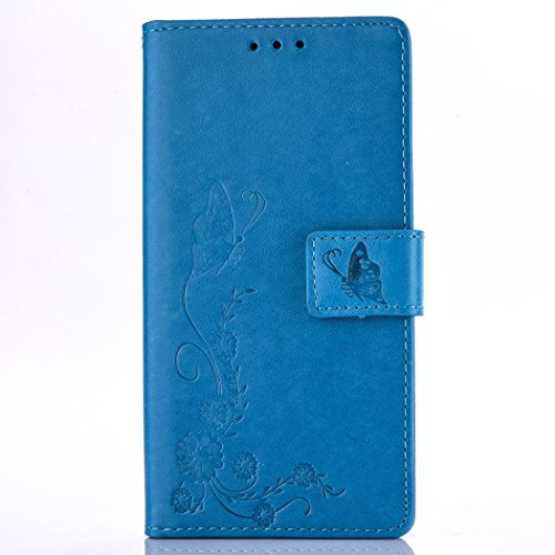 Ecoway Para LG LS775/LG STYLUS 2/LG Stylo 2 Funda, (Azul Marino ) Gofrado Cuero de la PU Leather Cubierta ,Función de Soporte Billetera con Tapa para Tarjetas Soporte para Teléfono azul marino