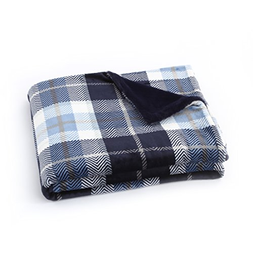 EverGrace Flannel Luxury Throw Blanket Faux Fur Cozy Blue Plaid Print Bedding Blanket Sheets for Sofa or Couch, Outdoor Travel Use W50 x L60 (Blue)