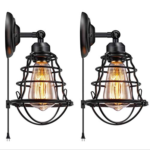 Retro Wall Lamp, Industrial Style Restaurant Bar Aisle Lighting Creative Loft Personality Wrought Iron Pipe Decorative Wall Lamp(2Pcs)