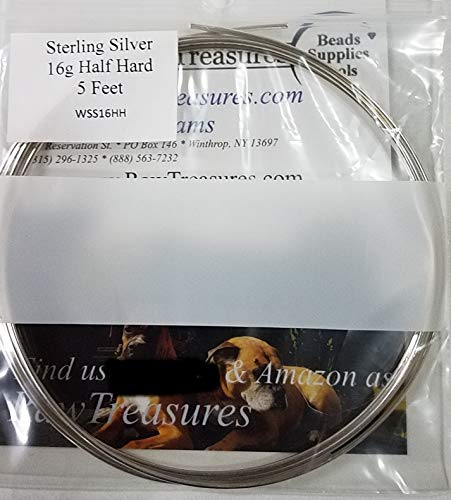 16 Gauge Sterling Silver Half Hard Round Wire - 5 Feet From RawTreasures