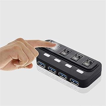Zyx HUB USB 3.0 Alta Velocidad 4 Puertos con Interruptor + Fuente con Interruptor LED De