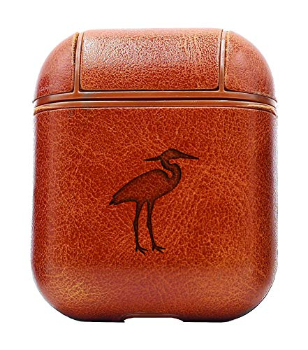 Heron Silhouette (Vintage Brown) Air Pods Protective Leather Case Cover - a New Class of Luxury to Your AirPods - Premium PU Leather and Handmade exquisitely by Master Craftsmen