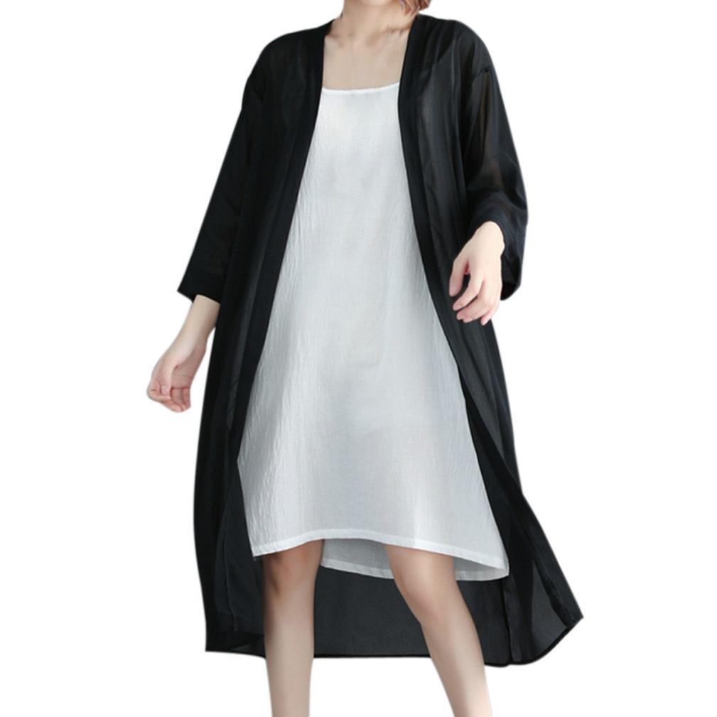 Orangeskycn Women's Long Cardigan Sunscreen Chiffon Kimono Cover Up Blouse