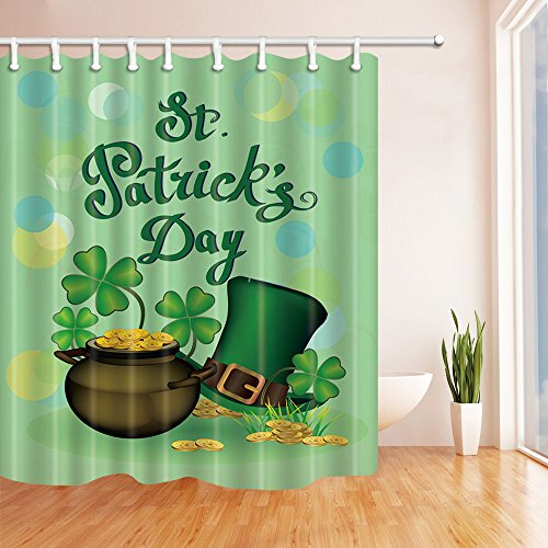 St Patricks Day Shamrocks (NYMB Spring Holiday Gifts Decor, Shamrock Leaves and Hat for St. Patrick's Day Shower Curtains, Polyester Fabric Waterproof Bath Curtain, 69X70ines, Shower Curtain Hooks Included, Green)