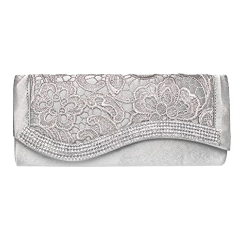 FASHIONROAD Fashion Road Evening Clutch, Womens Lace Rhinestone Clutch Purses for Wedding & Party Silver