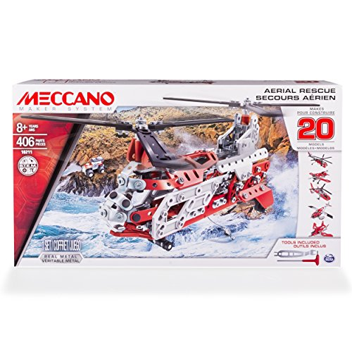 stem gifts for 5 year olds Erector by Meccano, Aerial Rescue 20 Flight Model Building Set, 406 Pieces, For Ages 8 and up, STEM Construction Education Toy