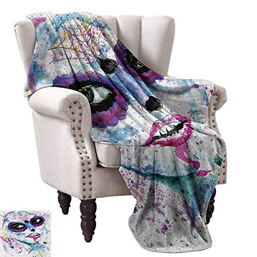 WinfreyDecor Girls Living Room/Bedroom Warm Blanket Grunge Halloween Lady with Sugar Skull Make Up Creepy Dead Face Gothic Woman Artsy Anti-Static Throw 36
