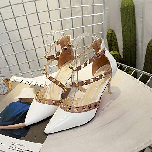 Chaussures Sandales 40 Fin Des Blanc Avec Orteil Bride Rivet Bx6qzPw