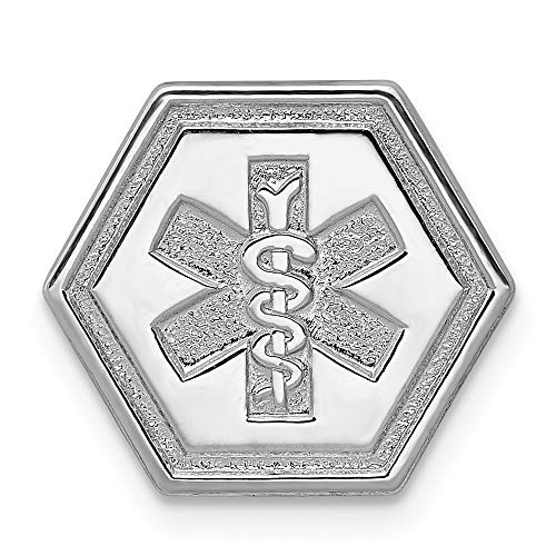 Jewel Tie 925 Sterling Silver Non-enameled Attachable Emblem Medical Pendant Charm (15mm x 14mm)