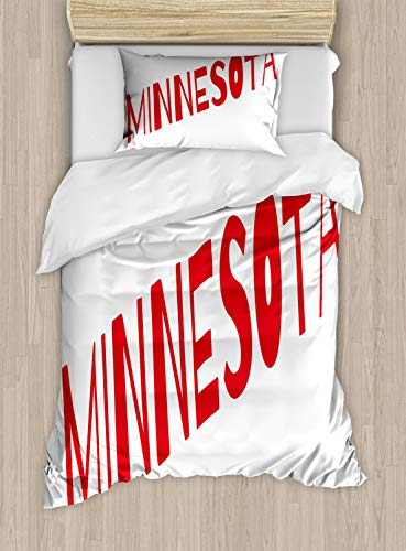 Ambesonne Minnesota Duvet Cover Set, Diagonally Aligned Lettering of Minnesota with Upper Case Letters Image, Decorative 2 Piece Bedding Set with 1 Pillow Sham, Twin Size, Vermilion and White
