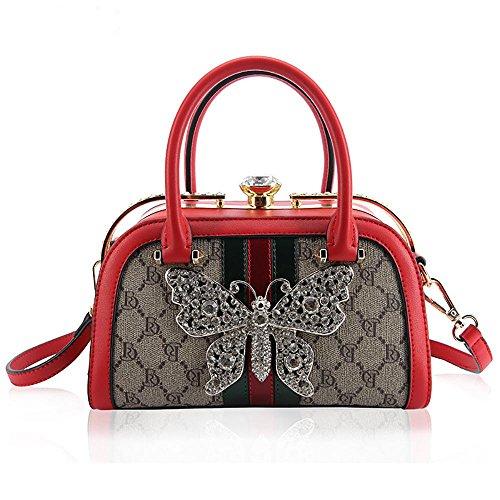 Mujer Bolso de hombro Tote Bolsos Bandolera Hobo Crossbody Bolsos de mano Vintage PU Cuero Bolsa de moda casual messenger Viaje bag , pearl white Red