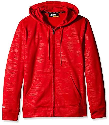 - Penn Men's Full Zip Embossed Hoodie, Varsity Red, XL