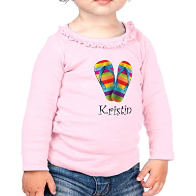 5cc8afba7c68 Personalized Custom Funny Flip Flops Rainbow Colorful Cotton Taped Neck Girl  Toddler Long Sleeve Ruffle Shirt