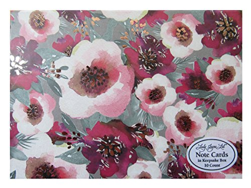 Lady Keepsake Box - Floral Note Cards in a Keepsake Box ~ 10 Count