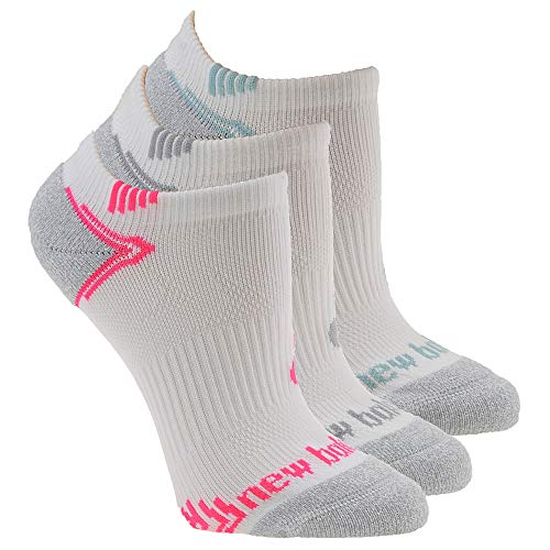 New Balance Unisex-Adult No Show Running Socks- 3 Pair Pack, White/Grey/Pink/Teal, Shoe Size: 7.5-9 Men's/ 6-10 Women's (Medium)