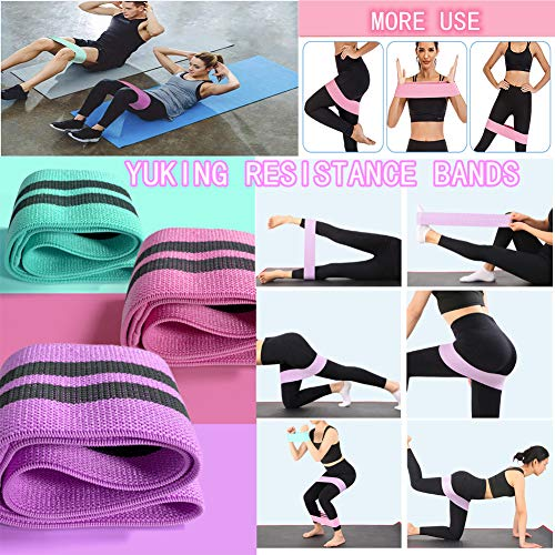 YuKing Booty Bands 3 Resistance Bands for Legs and Butt, Upgrade Thicken Anti-Slip & Roll Elastic Bands for Exercise,Hip Fabric Loop Fitness Set for Women, Workout Beginner to Professional
