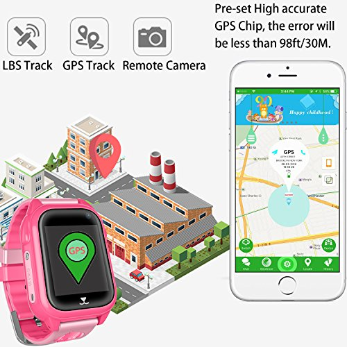 Kids Waterproof Smartwatch with GPS Tracker - Boys & Girls IP67 Waterproof Smart Watch Phone with Camera Games Sports Watches Back to School Student Gifts (01 S8 Pink (Upgrade Edition)) by Jesam (Image #2)