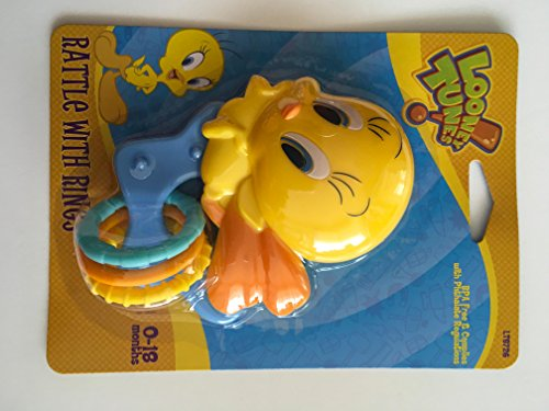 - Looney Tunes Tweety Bird Rattle With Rings (Colors Vary) (Blue Star Ring