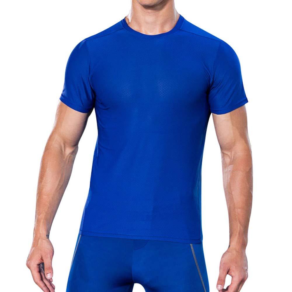 Celucke Laufshirt Herren Funktionsshirt Kompressionsshirt, Einfarbig Rundhals Kurzarm Fitness T-Shirt Performance Männer Trainingsshirt Sportshirt Kompression Compression Shirts