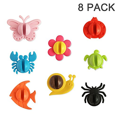 Tonnier Antibacterial kids Toothbrush Holder, Antibacterial Toothbrush Cover Holder with Suction Cup 8 Pack Animals, Multifunctional Drink Markers/Office Cable Holder