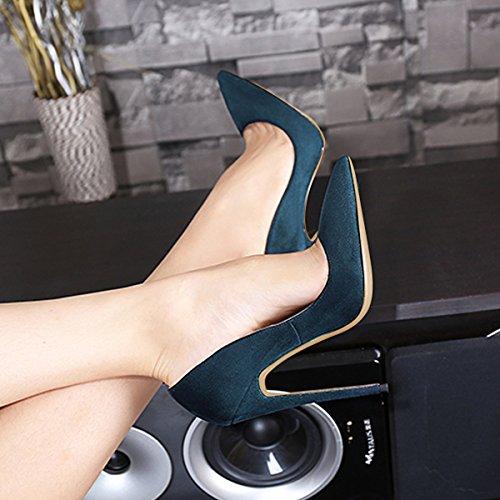 Guoar Femmes Stiletto Grande Taille Chaussures Bout Pointu Brevets Dames Solides Pompes Pour Lieu De Travail Robe Partie C-armée Vert-daim