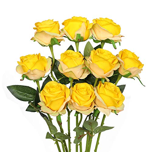 Luyue Artificial Silk Rose Flower Bouquet Wedding Party Home Decor, Pack of 10-Gradient Yellow (Yellow Rose Wine)