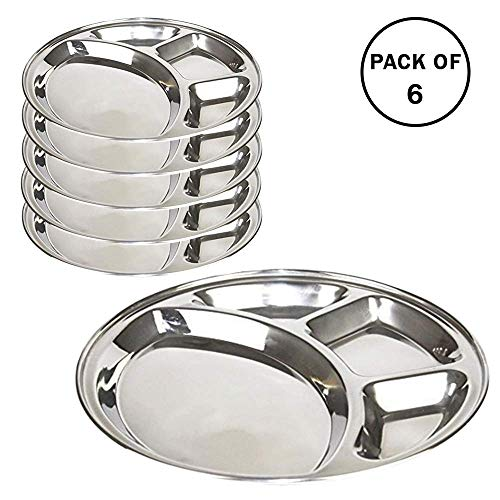WhopperOnline Set of 6 Stainless Steel Round 4 Section Divided Plate for Toddlers, Dinner Lunch Plate - Silver, 13 Inch ()
