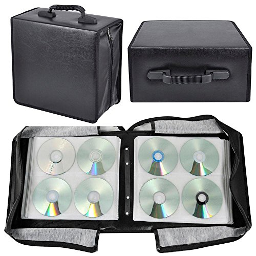Topeakmart 400 Disc CD DVD Bluray Storage Holder Solution Binder Sleeves Carrying Case-1Pcs