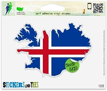 "Iceland Euro oval car window bumper sticker decal 5/"" x 3/"""