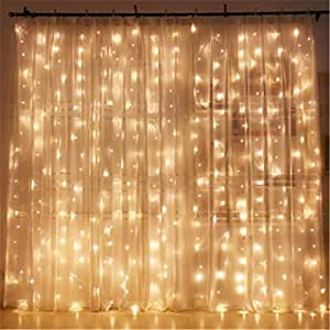 indoor bedroom string lights twinkle 300 led window curtain string 15638