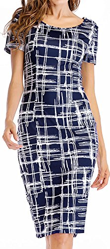 LunaJany Women's Stripe Print Sexy Wear To Work Office Career Sheath Midi Dress L 1navy (Sheath Womens)