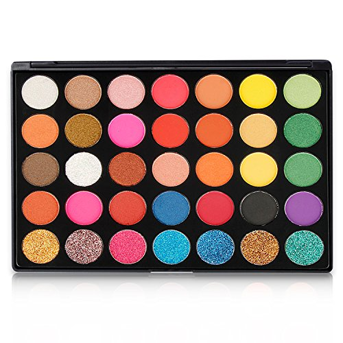 Eyeshadow Makeup Palette, Valuemakers 35 Colors Waterproof & Ultra Pigmented Make-up Eye Shadows- Pressed Glitter and Shimmery EyeShadow Powder Cosmetic Makeup Set by FiveBull (Image #7)