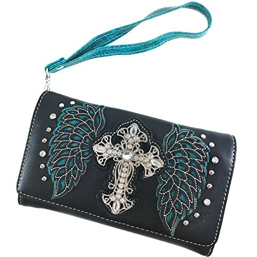 Justin West Angel Wing Cutout Stud Rhinestone Cross Shoulder Handbag with Concealed Carry (Turquoise (Justin Rodeo Wallet)