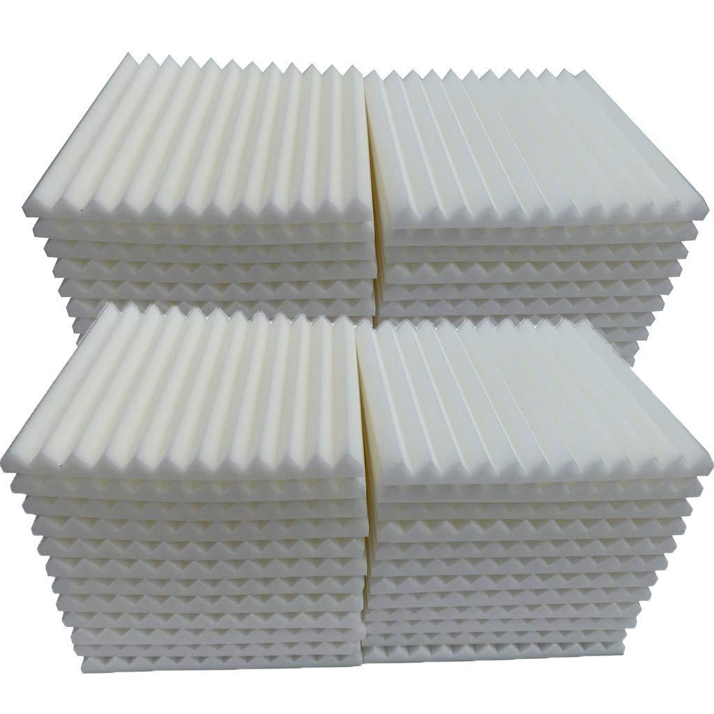 Soundproof Foam, 48Pcs Acoustic Panels Studio Foam Wedges Fireproof Soundproof Padding Wall Panels for Studio and KTV etc (White)