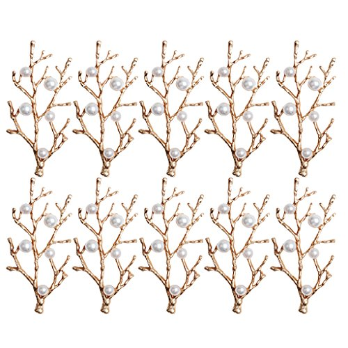 MonkeyJack 10 Pieces Gold Alloy Branches Pearl Embellishment DIY Scrapbooking Wedding Bridal Hair Craft Jewelry Findings ()