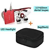 Zinnor Dentist Dental Surgical Medical Binocular Loupes 3.5 x 420mm Optical Glass Loupe + LED Headlight Lamp(Red) + Carry Bag (Black)