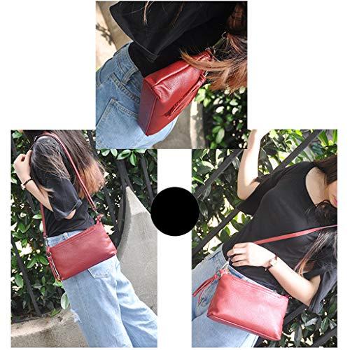 À Fille Mini Serrure Vintage Bandoulière Flip Bandoulière Crossbody véritable Sac Mode Rouge Sac Femmes MagiDeal Cuir Eq6A80z