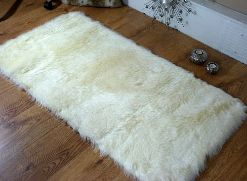 Cream ivory faux fur oblong sheepskin rug 70 x 140 cm washable