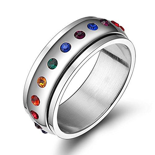 YONG Japonés y Coreano gay arco iris joyería acero de titanio girar anillo de acero estilo