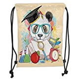 Custom Printed Drawstring Sack Backpacks Bags,Animal,Panda Goes to School Humor Education Hipster with Glasses Books Pen Graphic Art,Multicolor Soft Satin,5 Liter Capacity,Adjustable String Closure,Th